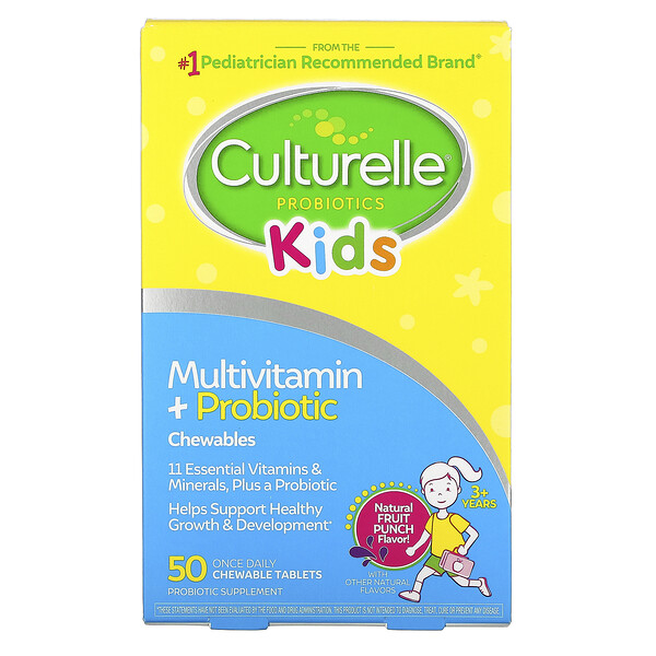 Culturelle, 兒童,益生菌,多維生素 + 益生菌,3 歲以上,天然水果混合味,50 片咀嚼片