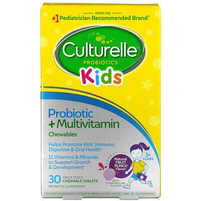 Купить Culturelle Kids, Probiotic + Multivitamin Chewables, 3 Years +, Natural Fruit Punch, 30 Chewable Tablets