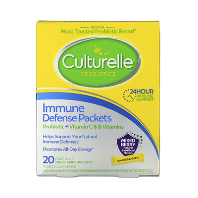 Culturelle Probiotics, Immune Defense Packets, Mixed Berry Flavor, 20 Once Daily Single Serve Packets