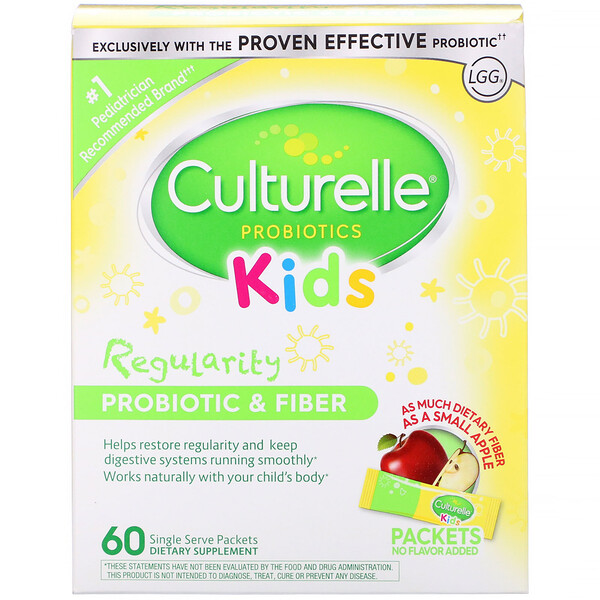 Kids, Regularity Probiotic + Fiber, Unflavored, 60 Single Serve Packets