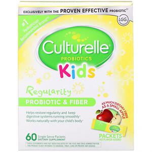 Culturelle, Kids, Regularity Probiotic + Fiber, Unflavored, 60 Single Serve Packets