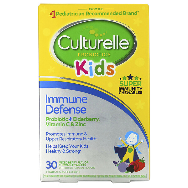 Kids, Probiotics, Immune Defense, Mixed Berry Flavor, 30 Chewable Tablets