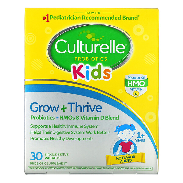 Kids, Grow + Thrive, Probiotics + HMOs & Vitamin D Blend, 1+ Years, 30 Single Serve Packets