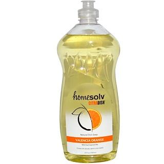 Citra-Solv, Homesolv CitraDish, Натуральное мыло для мытья посуды, Апельсин из Валенсии, 25 жидких унций (739 мл)