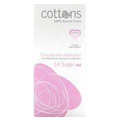 Cottons, 全天然棉,導管衛生棉條,超大量,14 枚