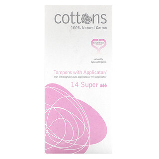 Cottons, 100% Natural Cotton, Tampons with Applicator, Super, 14 Tampons