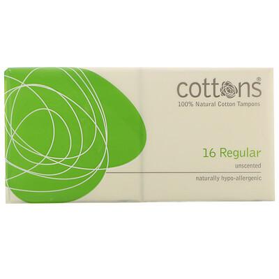 Купить Cottons Тампоны из 100% чистого хлопка, Regular, без запаха, 16штук