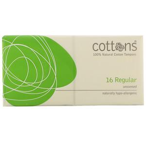 Cottons, 100% Natural Cotton Tampons, Regular, Unscented, 16 Tampons отзывы