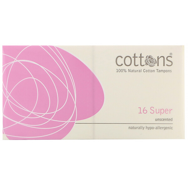 Cottons, 100% Natural Cotton Tampons, Super, Unscented, 16 Tampons (Discontinued Item)