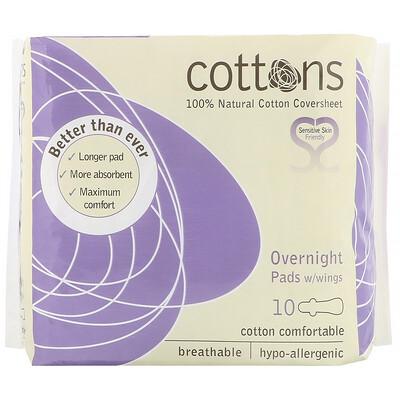 Купить Cottons Ночные прокладки с крылышками, покрывающий слой из 100% чистого хлопка, для большого объема выделений, 10штук