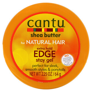 Cantu, Shea Butter for Natural Hair, Extra Hold Edge Stay Gel, 2.25 oz (64 g)