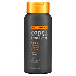 Cantu, Men's Collection, Shea Butter 3 In 1 Shampoo, Conditioner, Body Wash, 13.5 fl oz (400 ml)