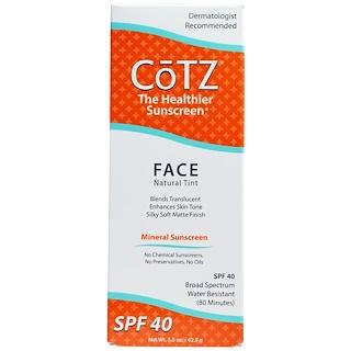 Cotz, Face, Natural Tint Sunscreen, SPF 40, 1.5 oz (42.5 g)