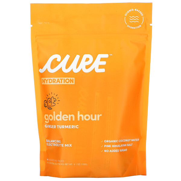 Cure Hydration, Hydration Mix,Golden Hour Ginger Turmeric,14 包,每包 0.29 盎司(8.3 克)