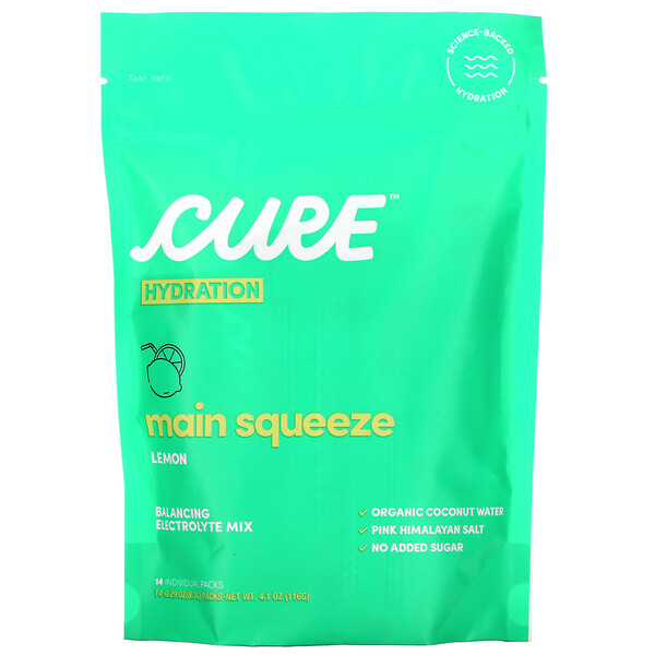Cure Hydration, Balancing Electrolyte Mix, Main Squeeze Lemon, 14 Individual Packs, 0.29 oz (8.3 g) Each