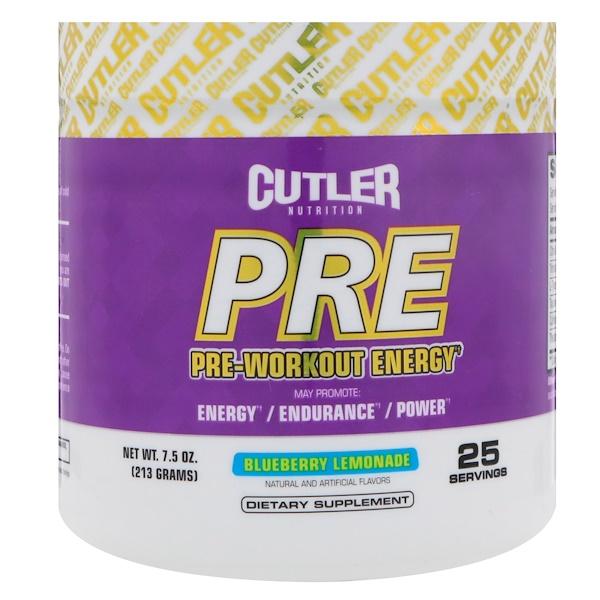 Cutler Nutrition, 鍛煉前能量,藍莓檸檬,7、5 盎司(213 克)