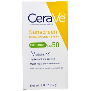 CeraVe, Sunscreen, Face Lotion, SPF 50, 2.0 oz (56 g)