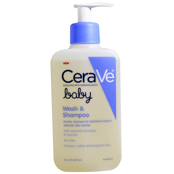 CeraVe, Baby, Wash and Shampoo, 8 fl oz (237 ml) (Discontinued Item)