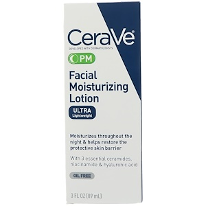 CeraVe, PM Увлажняющий лосьон для лица, 3 жидкие унции (89 мл) инструкция, применение, состав, противопоказания