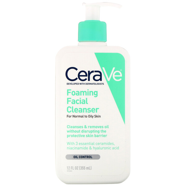 CeraVe, Foaming Facial Cleanser, for Normal to Oily Skin, 12 oz (355 ml) (Discontinued Item)