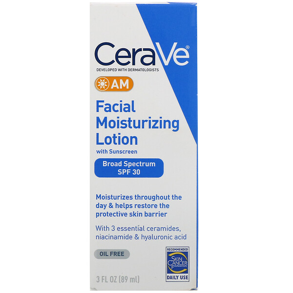 CeraVe, AM Facial Moisturizing Lotion with Sunscreen, SPF 30, 3 fl oz (89 ml)