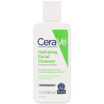 Купить CeraVe Увлажняющее, очищающее средство для лица, для нормальной и сухой кожи, 87мл (3жидк.унции)