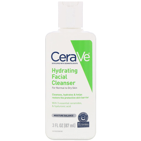 Hydrating Facial Cleanser, For Normal to Dry Skin, 3 fl oz (87 ml)
