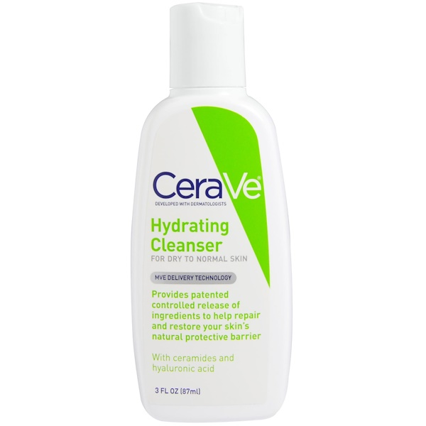 CeraVe, Hydrating Cleanser, For Dry to Normal Skin, 3 fl oz (87 ml) (Discontinued Item)