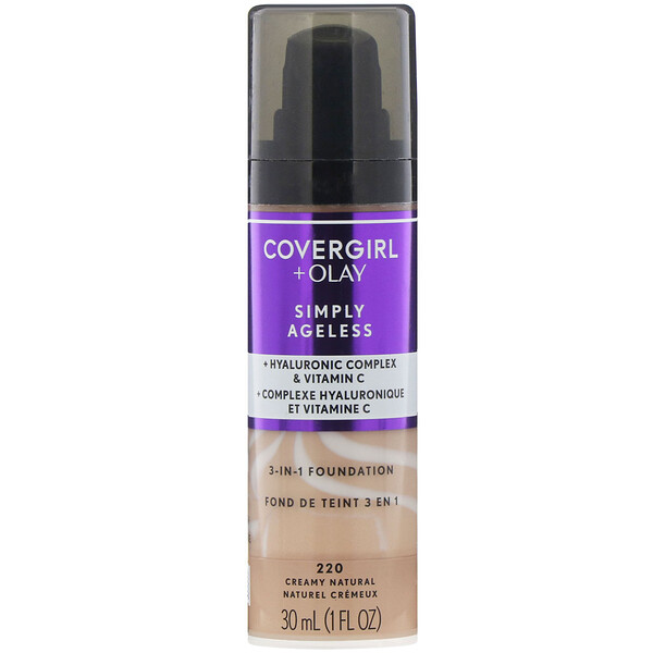 Covergirl, Olay Simply Ageless, 3-in-1 Foundation, 220 Creamy Natural, 1 fl oz (30 ml) (Discontinued Item)