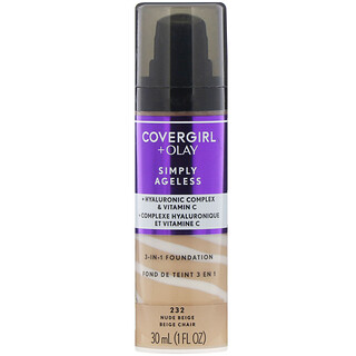 Covergirl, Olay Simply Ageless, 3-in-1 Foundation, 232 Nude Beige, 1 fl oz (30 ml)