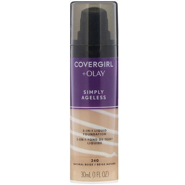 Olay Simply Ageless,  3-in-1 Foundation, 240 Natural Beige, 1 fl oz (30 ml)