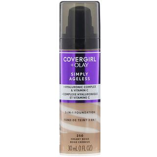 Covergirl, Olay Simply Ageless, 3-in-1 Foundation, 250 Creamy Beige, 1 fl oz (30 ml)