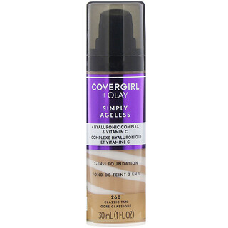 Covergirl, Olay Simply Ageless, 3-in-1 Foundation, 260 Classic Tan, 1 fl oz (30 ml)