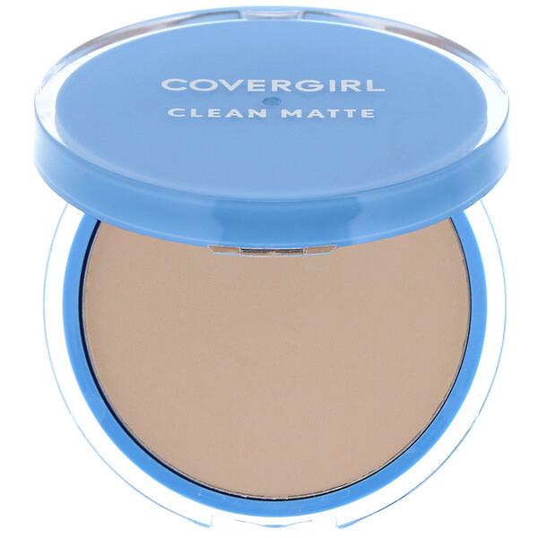 Covergirl, Clean Matte, Pressed Powder, 525 Buff Beige, .35 oz (10 g) (Discontinued Item)