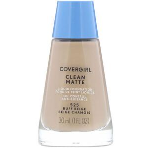 Covergirl, Clean Matte Liquid Foundation, 525 Buff Beige, 1 fl oz (30 ml) отзывы
