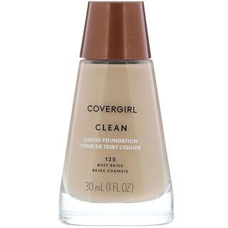 Covergirl, Clean, жидкая тональная основа, оттенок 125 «Желтовато-бежевый», 30мл (1 жидк.унция)
