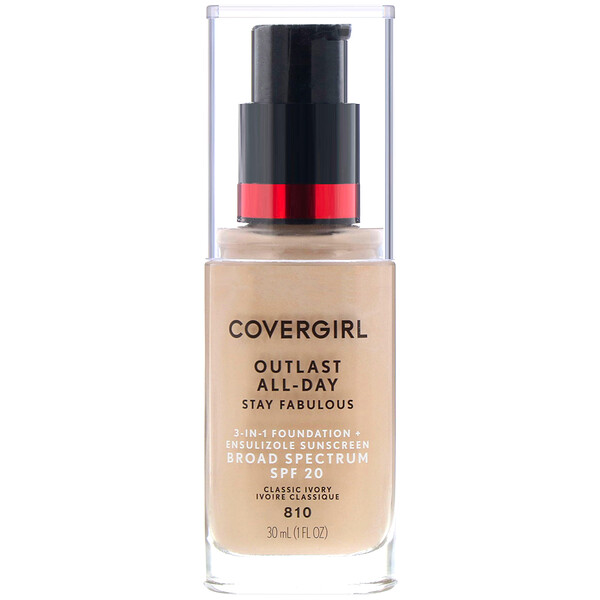 Outlast All-Day Stay Fabulous, 3-in-1 Foundation, 810 Classic Ivory, 1 fl oz (30 ml)