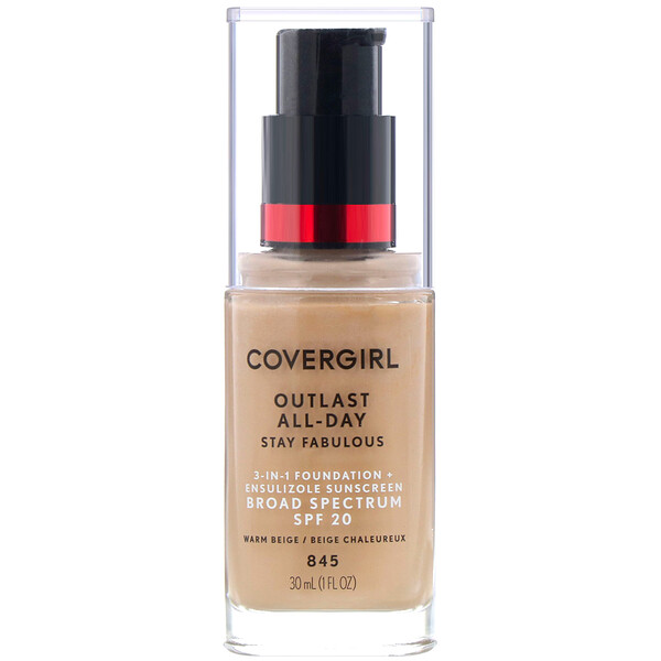 Covergirl, Outlast All-Day Stay Fabulous, 3-in-1 Foundation, 845 Warm Beige, 1 fl oz (30 ml)