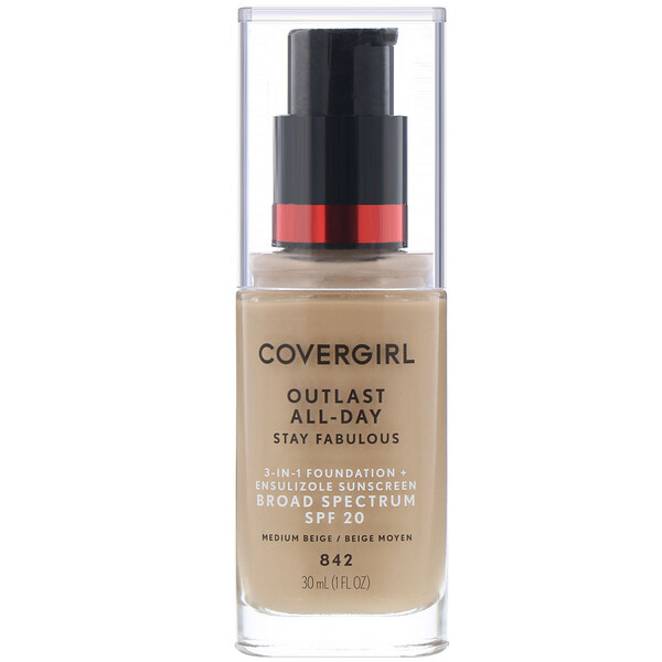 Outlast All-Day Stay Fabulous, 3-in-1 Foundation, 842 Medium Beige, 1 fl oz (30 ml)