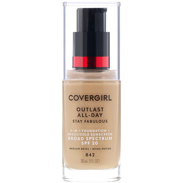 Covergirl, アウトラストオールデイステイファビュラス、3ーinー1ファンデーション、842ミディアムベージュ、30 ml