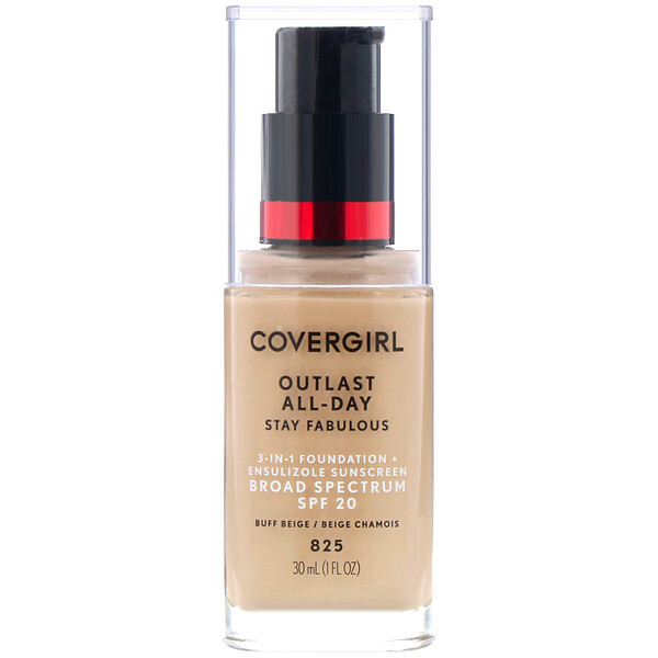 Covergirl, Outlast All-Day Stay Fabulous, 3-in-1 Foundation, 825 Buff Beige, 1 fl oz (30 ml)