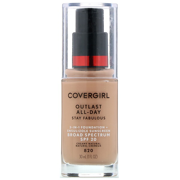 Covergirl, Outlast All-Day Stay Fabulous, 3-in-1 Foundation, 820 Creamy Natural, 1 fl oz (30 ml)