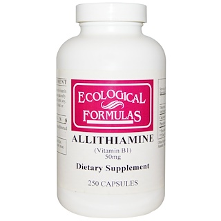 Cardiovascular Research Ltd., Ecological Formulas, Allithiamine (Vitamin B1), 50 mg, 250 Capsules