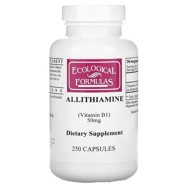Ecological Formulas, أليثيامين (فيتامين ب1)، 50 ملغم، 250 كبسولة