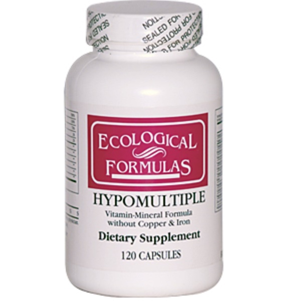 Cardiovascular Research Ltd., Ecological Formulas, Hypomultiple without Copper & Iron, 120 Capsules (Discontinued Item)