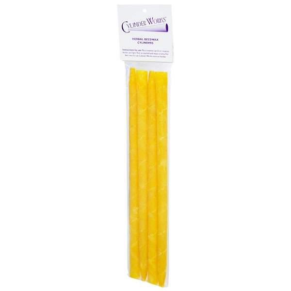 Cylinder Works, Incense Candles, Herbal Beeswax Cylinders, 4 Pack (Discontinued Item)