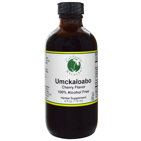 California Xtracts, Umckaloabo, 100% Alcohol Free, Cherry Flavor, 4 fl oz (118 ml) (Discontinued Item)