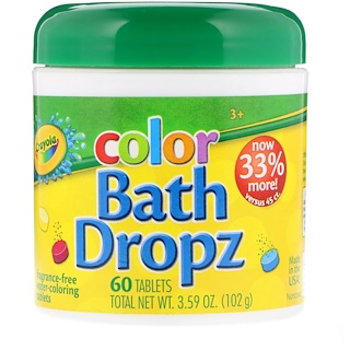 Crayola, Color, Bath Dropz, 60 Tablets