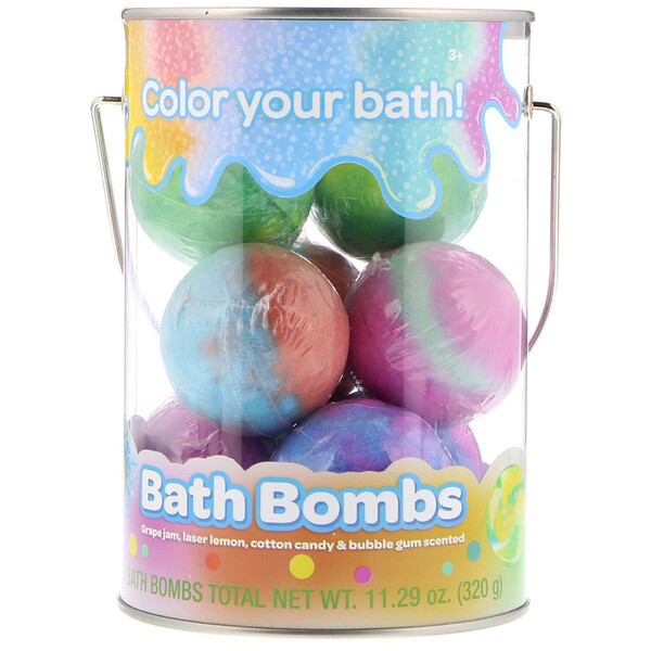 Bath Bombs, Grape Jam, Laser Lemon, Cotton Candy & Bubble Gum Scented, 8 Bath Bombs, 11.29 oz (320 g)