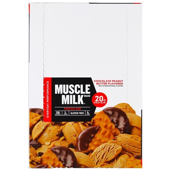 Cytosport, Inc, Muscle Milk, Protein Bar, Chocolate Peanut Butter , 12 Bars, 2.25 oz (64 g) Each